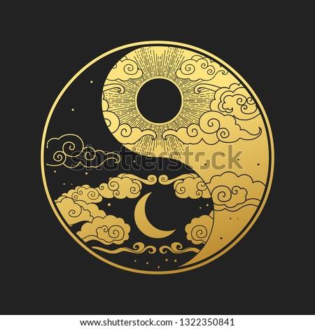 Decorative graphic design element in oriental style. Sun, Moon, clouds, stars. Vector hand drawn illustration Stock photo ©