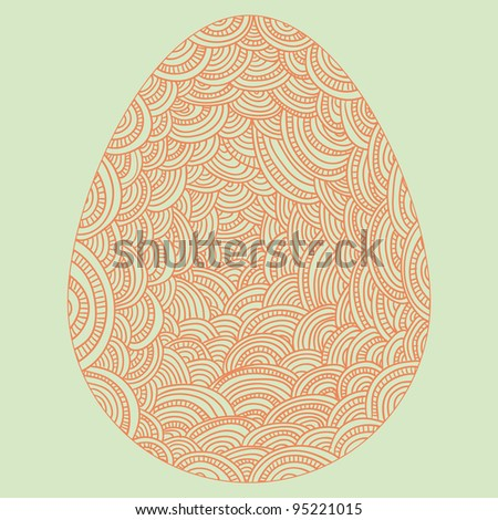 decorative graphic easter egg shaped pattern on paper - stock vector