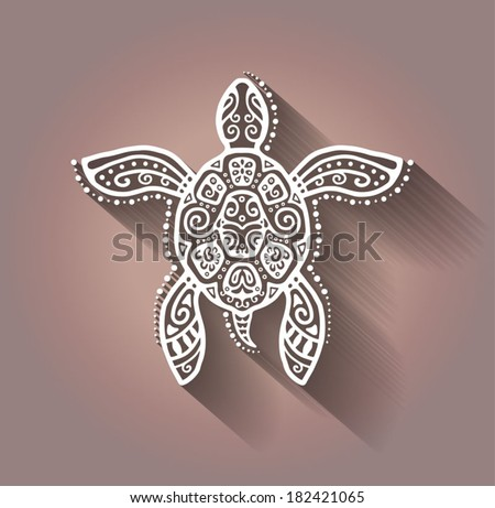 Decorative graphic turtle tattoo style tribal totem animal vector illustration isolated elements lace pattern
