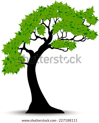 Decorative Green Tree Silhouette With Green Leaves And Wind
