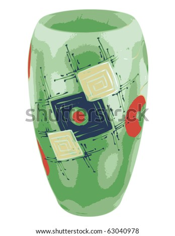Decorative green vase with abstract ornament. Vector illustration.