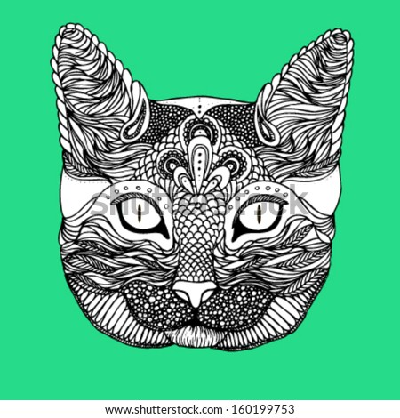 Decorative hand drawn ornamental cat