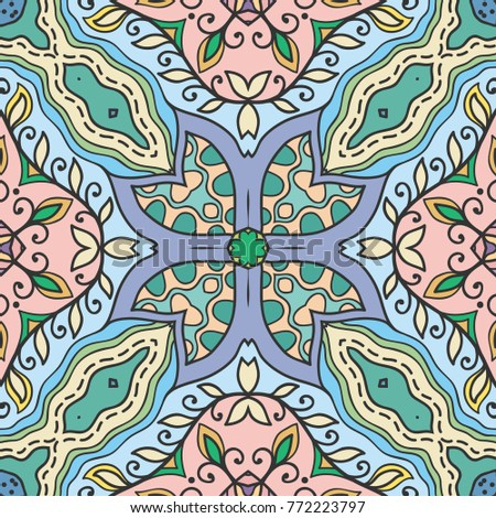 Decorative hand drawn seamless pattern. Colorful abstract art, stylized floral doodle background. Tribal ethnic ornate decoration. Arabic, indian, turkish ornament. Vector geometric repeating texture