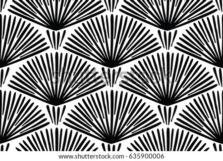 Decorative hand drawn seamless vector pattern. Simple sketchy lines arranged in semi-circles. Ethnic style black and white minimalistic background. Abstract floral design.