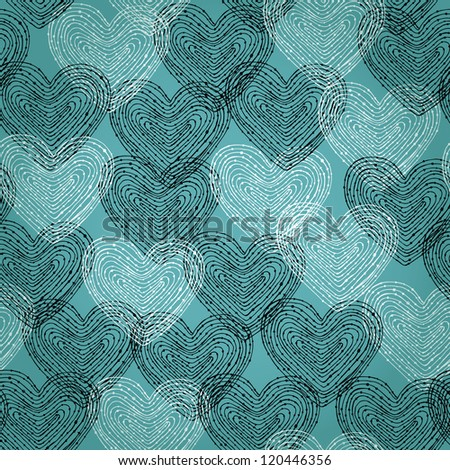 Decorative hand drawn texture with black and white hearts. Template for design and decoration