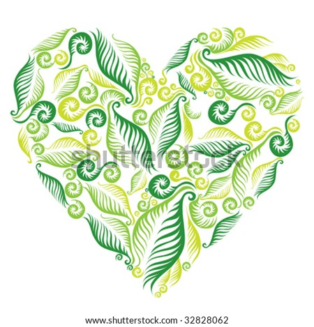 Decorative heart from fern leafs. Saint Valentine's Day.