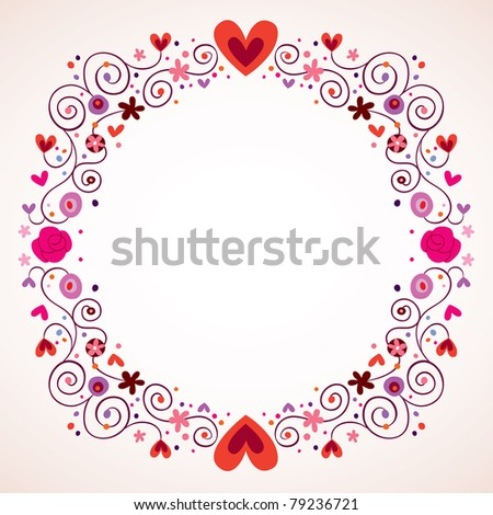 decorative hearts and flowers frame