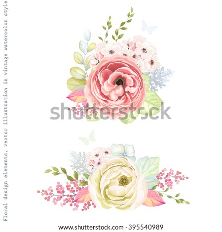 Stock Photo Decorative holiday ornaments of flowers ranunculus, leaves and branches, floral vector illustration in vintage watercolor style with silhouette butterflies.