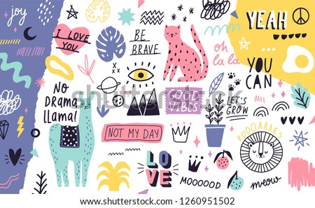 Decorative horizontal background or backdrop with cute exotic animals, plants, fruits, handwritten motivational slogans, symbols. Modern colorful vector illustration hand drawn in naive doodle style.