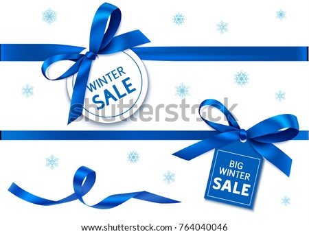 Decorative horizontal blue ribbon with blue bow and sale tag for winter holiday sale design. Vector decoration and label #764040046