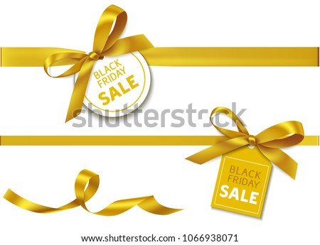 Decorative horizontal golden yellow ribbon with bow and sale tag for black friday sale design. Vector decoration and  holiday label