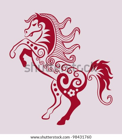 Decorative horse Animal decorative ornament, beauty tattoo design