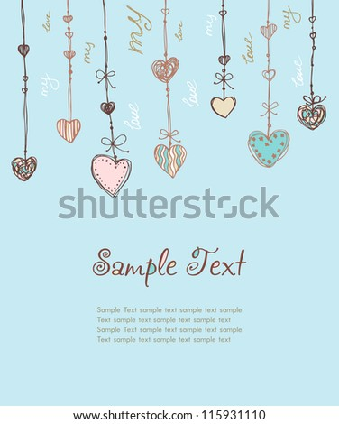 Decorative illustrated template for design greeting card, invitation, scrapbooking, etc. Cute romantic background with different ornamental hearts and sample text