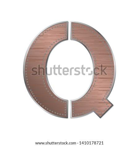 decorative industrial alphabet letter q, vector
