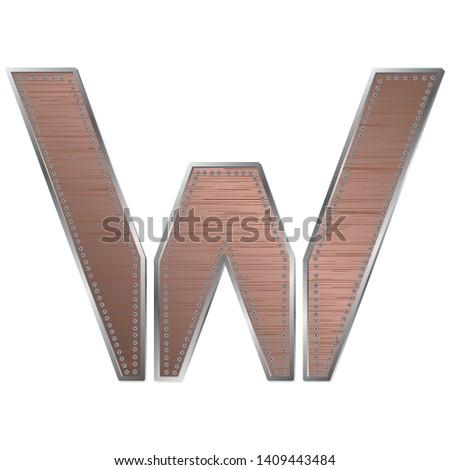 decorative industrial alphabet letter w, vector