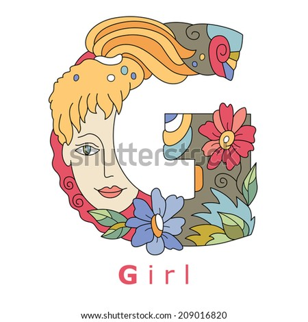 decorative initial, capital letter G with a face of pretty woman and  decorative  flowers. Vector image.