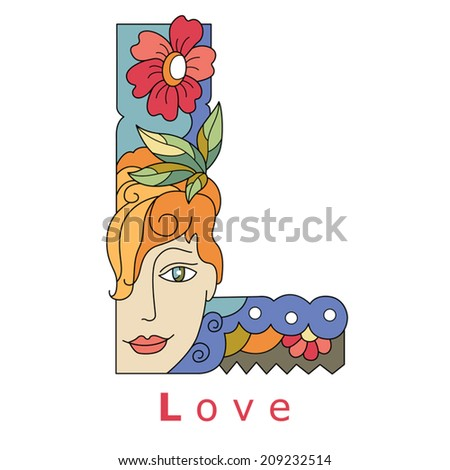 decorative initial, capital letter L with a face of pretty woman and decorative flowers. Vector image.