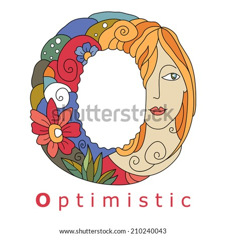 decorative initial, capital letter O with a face of pretty woman and decorative flowers. Vector image.