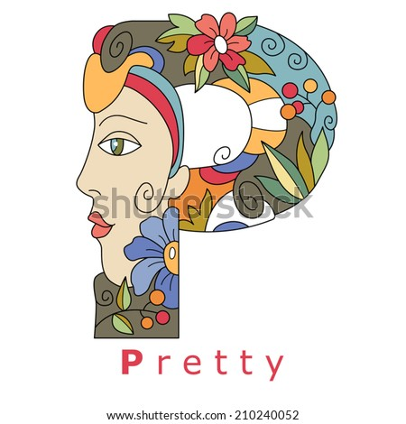 decorative initial, capital letter P with a face of pretty woman and decorative flowers. Vector image.
