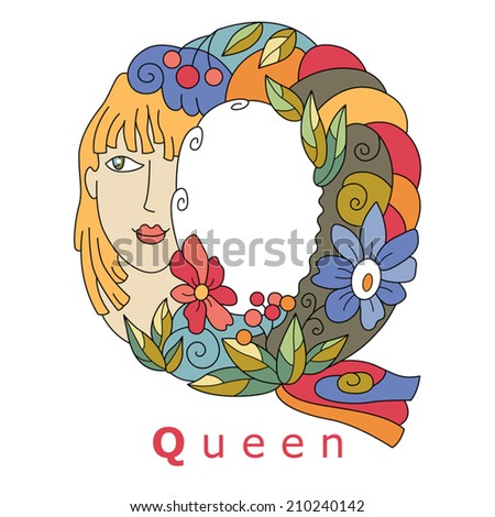 decorative initial, capital letter Q with a face of pretty woman and decorative flowers. Vector image.