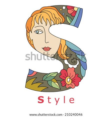 decorative initial, capital letter S with a face of pretty woman and decorative flowers. Vector image.