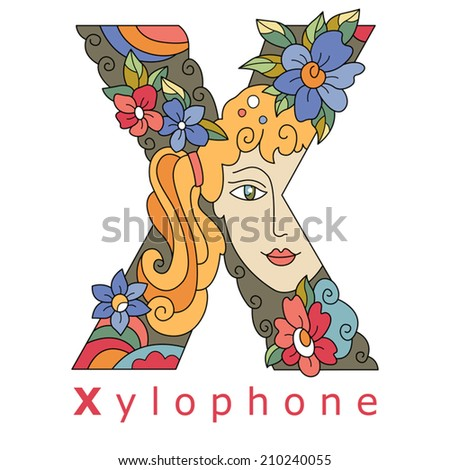 decorative initial, capital letter X with a face of pretty woman and decorative flowers. Vector image.
