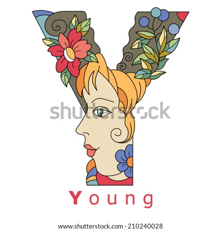 decorative initial, capital letter Y with a face of pretty woman and decorative flowers. Vector image.