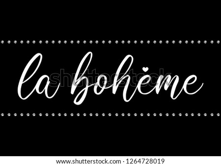 "Decorative ""La Boheme"" (Bohemian in French) Text, Rhinestone Applique Print for Textile, Crystal Embellishment for Fashion Apparel, Jewelry Ornament for Hotfix Transfer"