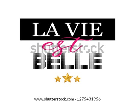 "Decorative ""La Vie est Belle"" (Life is Beautiful in French) Text"