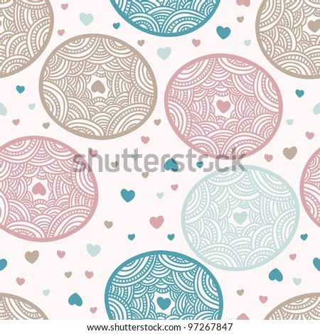 decorative lacy circle seamless pattern background