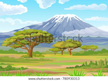 Decorative landscape - the African savanna. Vector illustration.