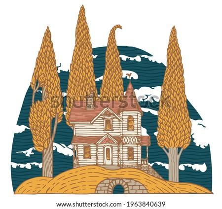 decorative landscape with a log