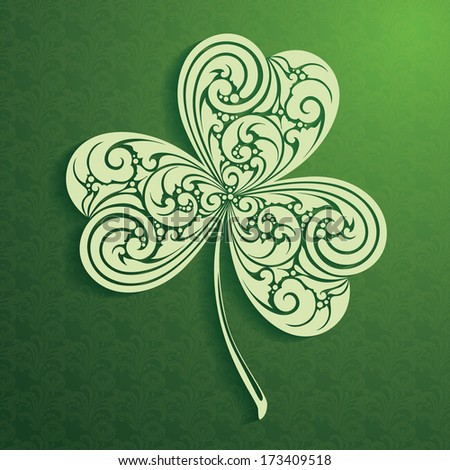 Decorative leaf clover on ornamental background St Patrick Day