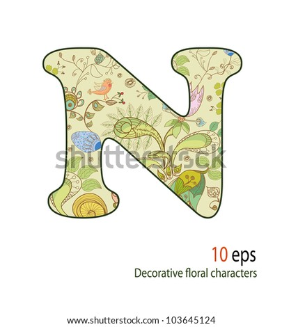 Decorative letters of the flowers and birds, alphabet, font