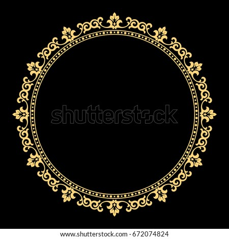 Decorative line art frames for design template. Elegant vector element for design in Eastern style, place for text. Golden outline floral border. Lace illustration for invitations and greeting cards