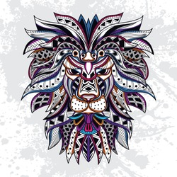 decorative lion art from rousing pattern color with background