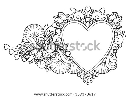 Decorative Love Frame Composition With Hearts Flowers Ornate Elements In Doodle Style Floral