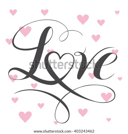 decorative love text with heart