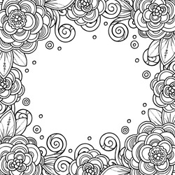 Decorative magic frame with flowers, ornate elements in doodle style. Floral, ornate, decorative, tribal design elements. Black and white background. Zentangle coloring book page