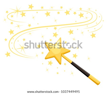 Decorative magic wand with a magic trace. Star shape magic accessory. Magical girl cartoon power. Vector illustration isolated on white background. Web site page and mobile app design