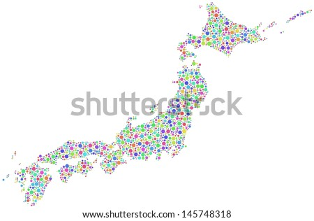 Decorative Map Japan - Asia - in a mosaic of harlequin circles