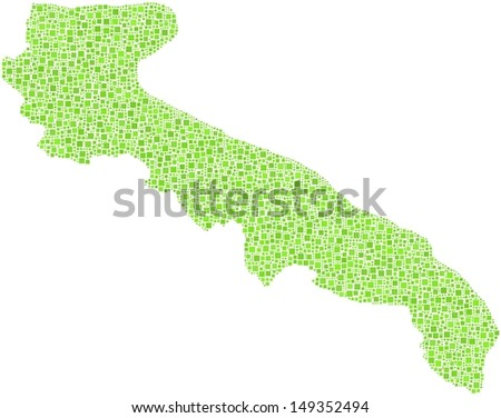 Decorative map of Apulia - Italy - in a mosaic of green squares. A number of 3634 little green squares are accurately inserted into the mosaic. White background.