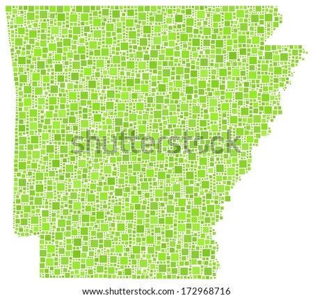 Decorative map of Arkansas - USA - in a mosaic of green squares.A number of 4054 little squares are accurately inserted into the mosaic. White background.