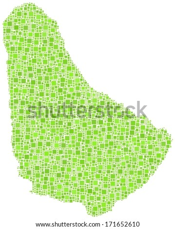 Decorative map of Barbados - America - in a mosaic of green squares.  A number of 3511 little squares are accurately inserted into the mosaic.