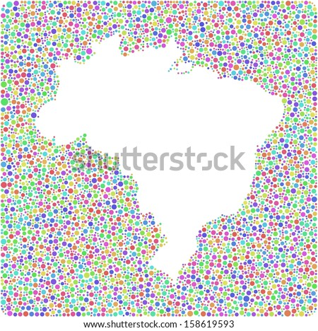 Decorative Map of Brasil into a square sign. A number of 5425 little bubbles are accurately inserted into the mosaic. White background.