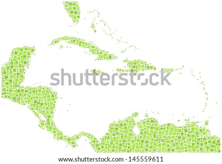 Decorative map of Caribbean Islands in a mosaic of green squares. A number of 3092 green squares are accurately inserted into the mosaic. White background.