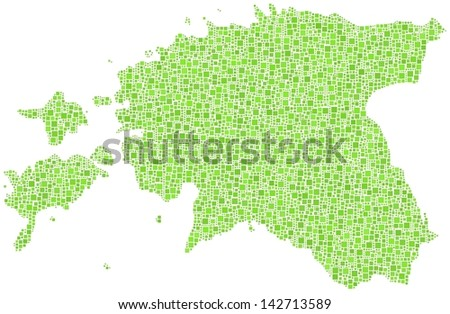 Decorative map of Estonia - Europe - in a mosaic of green squares