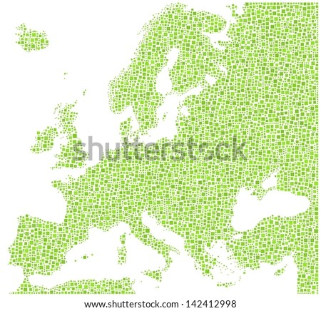 Decorative map of Europe in a mosaic of green squares. A number of 6431 little squares are accurately inserted into the mosaic. White background.