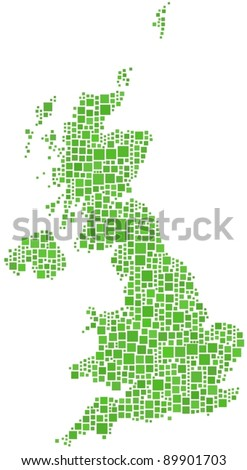 Decorative map of Great Britain (Europe). A number of 933 squares are accurately inserted into the mosaic. Map isolated. White background