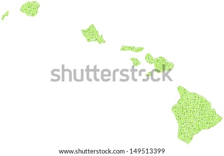 Decorative Map of Hawaii - USA - in a mosaic of green squares. A number of 2132 little squares are accurately inserted into the mosaic. White background.